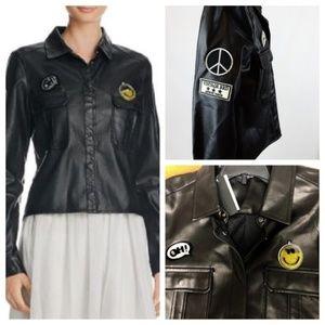 Anthropologie Lea & Viola Emoji Faux Leather Shirt